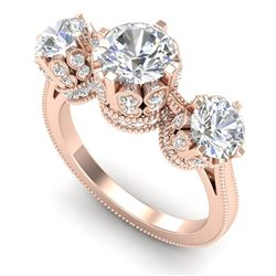 3.06 CTW VS/SI Diamond Solitaire Art Deco 3 Stone Ring 18K Rose Gold - REF-576T4X - 36849