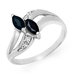0.74 CTW Blue Sapphire & Diamond Ring 18K White Gold - REF-31X3T - 12718