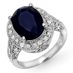 7.0 CTW Blue Sapphire & Diamond Ring 14K White Gold - REF-102T8X - 11894