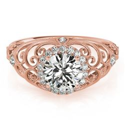 1.22 CTW Certified VS/SI Diamond Solitaire Halo Ring 18K Rose Gold - REF-387K5R - 26555
