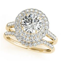 1.77 CTW Certified VS/SI Diamond 2Pc Wedding Set Solitaire Halo 14K Yellow Gold - REF-241Y3N - 30902