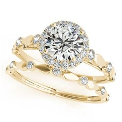 1.11 CTW Certified VS/SI Diamond 2Pc Wedding Set Solitaire Halo 14K Yellow Gold - REF-197K3R - 30860