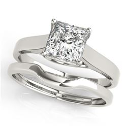 0.75 CTW Certified VS/SI Princess Diamond 2Pc Wedding Set 14K White Gold - REF-204H5W - 32102