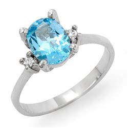 1.53 CTW Blue Topaz & Diamond Ring 18K White Gold - REF-27F8M - 12396