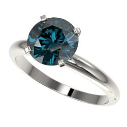 2.50 CTW Certified Intense Blue SI Diamond Solitaire Engagement Ring 10K White Gold - REF-608X5T - 3