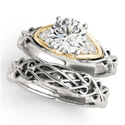 0.85 CTW Certified VS/SI Diamond Solitaire 2Pc Set 14K White & Yellow Gold - REF-208R2K - 31878