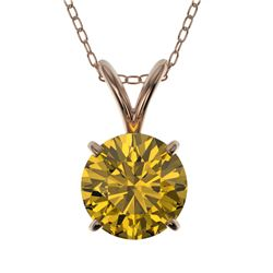 1 CTW Certified Intense Yellow SI Diamond Solitaire Necklace 10K Rose Gold - REF-161N8Y - 33191