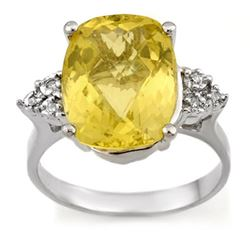 6.10 CTW Lemon Topaz & Diamond Ring 18K White Gold - REF-58H2W - 10940