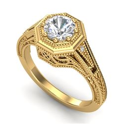 0.84 CTW VS/SI Diamond Solitaire Art Deco Ring 18K Yellow Gold - REF-236R4K - 37093