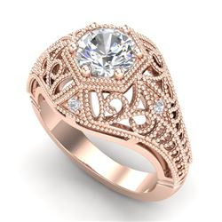 1.07 CTW VS/SI Diamond Solitaire Art Deco Ring 18K Rose Gold - REF-345X2T - 36918