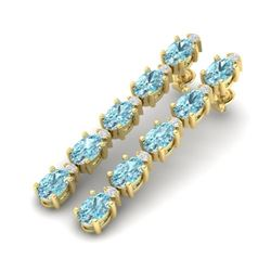 15.47 CTW Skt Blue Topaz & VS/SI Certified Diamond Earrings 10K Yellow Gold - REF-74N8Y - 29496