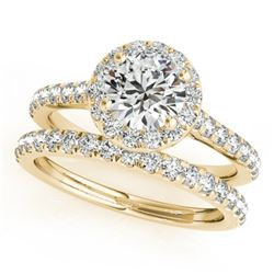 1.71 CTW Certified VS/SI Diamond 2Pc Wedding Set Solitaire Halo 14K Yellow Gold - REF-389T6X - 30842
