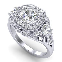 2.11 CTW VS/SI Diamond Solitaire Art Deco 3 Stone Ring 18K White Gold - REF-472X8T - 37328