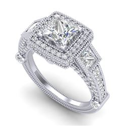 3 CTW Princess VS/SI Diamond Solitaire Art Deco 3 Stone Ring 18K White Gold - REF-563H6W - 37133