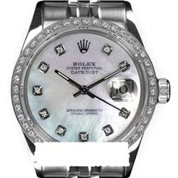 Rolex Men's Stainless Steel, QuickSet, Diamond Dial & Diamond Bezel - REF-474M5H