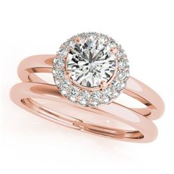 1 CTW Certified VS/SI Diamond 2Pc Wedding Set Solitaire Halo 14K Rose Gold - REF-184W9H - 30919