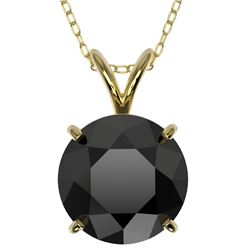2.50 CTW Fancy Black VS Diamond Solitaire Necklace 10K Yellow Gold - REF-61K5R - 33245