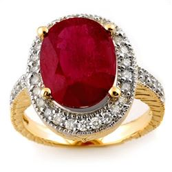 8.0 CTW Ruby & Diamond Ring 14K Yellow Gold - REF-92F4M - 11647