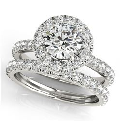 2.54 CTW Certified VS/SI Diamond 2Pc Wedding Set Solitaire Halo 14K White Gold - REF-548T5X - 30756