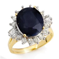 8.99 CTW Blue Sapphire & Diamond Ring 14K Yellow Gold - REF-104X2T - 12917