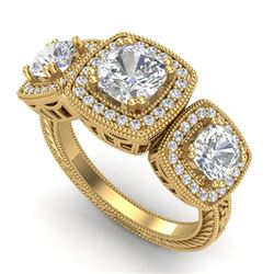 2.75 CTW Cushion Cut VS/SI Diamond Art Deco 3 Stone Band 18K Yellow Gold - REF-609Y3N - 37042