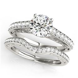 1.36 CTW Certified VS/SI Diamond Solitaire 2Pc Wedding Set 14K White Gold - REF-214W9H - 31757