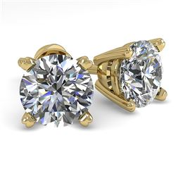 1.50 CTW VS/SI Diamond Stud Designer Earrings 14K Yellow Gold - REF-294H8W - 38369