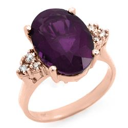 5.15 CTW Amethyst & Diamond Ring 10K Rose Gold - REF-35Y6N - 12932