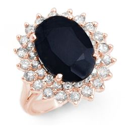 8.70 CTW Blue Sapphire & Diamond Ring 14K Rose Gold - REF-127N5Y - 12884