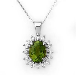 3.55 CTW Green Tourmaline & Diamond Necklace 18K White Gold - REF-98T5X - 10797