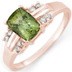 1.41 CTW Green Tourmaline & Diamond Ring 18K Rose Gold - REF-41X3T - 10519