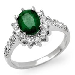 1.95 CTW Emerald & Diamond Ring 14K White Gold - REF-68T9X - 13507
