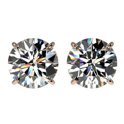 3 CTW Certified H-SI/I Quality Diamond Solitaire Stud Earrings 10K Rose Gold - REF-623K3R - 33121