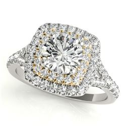 1.6 CTW Certified VS/SI Diamond Solitaire Halo Ring 18K White & Yellow Gold - REF-400M8F - 26244
