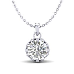 0.85 CTW VS/SI Diamond Solitaire Art Deco Stud Necklace 18K White Gold - REF-138H4W - 36839