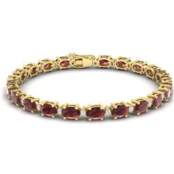 25.8 CTW Garnet & VS/SI Certified Diamond Eternity Bracelet 10K Yellow Gold - REF-119R3K - 29454