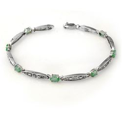 2.07 CTW Emerald & Diamond Bracelet 10K White Gold - REF-36K9R - 13730