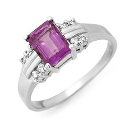1.41 CTW Amethyst & Diamond Ring 18K White Gold - REF-35K3R - 13558