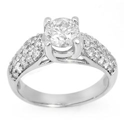 1.60 CTW Certified VS/SI Diamond Ring 14K White Gold - REF-292H5W - 11554