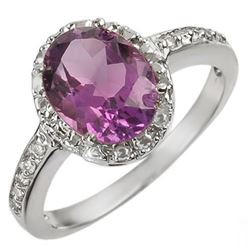 2.15 CTW Amethyst & Diamond Ring 14K White Gold - REF-30T5X - 10246