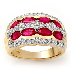 2.50 CTW Ruby & Diamond Ring 14K Yellow Gold - REF-105W5H - 14147