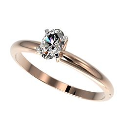 0.50 CTW Certified VS/SI Quality Oval Diamond Engagement Ring 10K Rose Gold - REF-77R6K - 32866