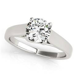 0.50 CTW Certified VS/SI Diamond Solitaire Ring 18K White Gold - REF-104R9K - 28146