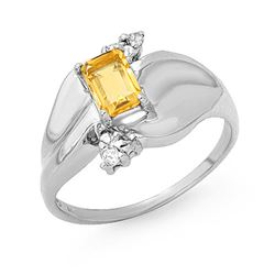 0.72 CTW Citrine & Diamond Ring 18K White Gold - REF-48X2T - 13187