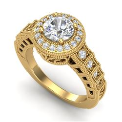 1.53 CTW VS/SI Diamond Art Deco Ring 18K Yellow Gold - REF-454T5X - 36961