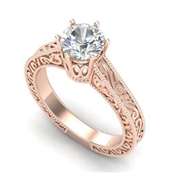 1 CTW VS/SI Diamond Solitaire Art Deco Ring 18K Rose Gold - REF-330T2X - 36927