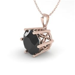 1 CTW Black Certified Diamond Solitaire Necklace 18K Rose Gold - REF-42Y2N - 35873