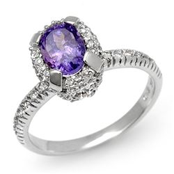 1.90 CTW Tanzanite & Diamond Ring 14K White Gold - REF-74M8F - 13472