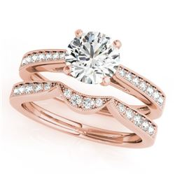 0.94 CTW Certified VS/SI Diamond Solitaire 2Pc Wedding Set 14K Rose Gold - REF-135M6F - 31725