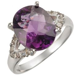 3.70 CTW Amethyst & Diamond Ring 14K White Gold - REF-50T4X - 10842